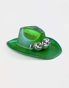 Disco Cowboy Hat in Holographic Green- Festival Fashion and Accessories Peach Pops