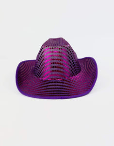 Disco Cowboy Hat in Purple Sequin- Festival Fashion and Accessories Peach Pops