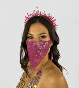 Liberty Crystal Crown in Magenta- Festival Fashion and Accessories Peach Pops