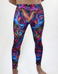 Psychedelic Swirls Unisex Leggings- Festival Fashion and Accessories Peach Pops