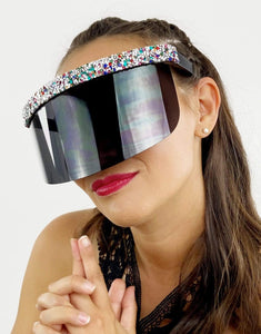 Razzle Strip Visor in Dark Crystal- Festival Fashion and Accessories Peach Pops