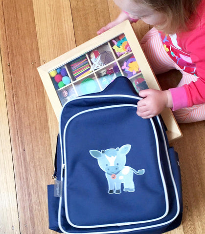 Jordbarn Indigo Goat backpack with Nesk Kids craft box