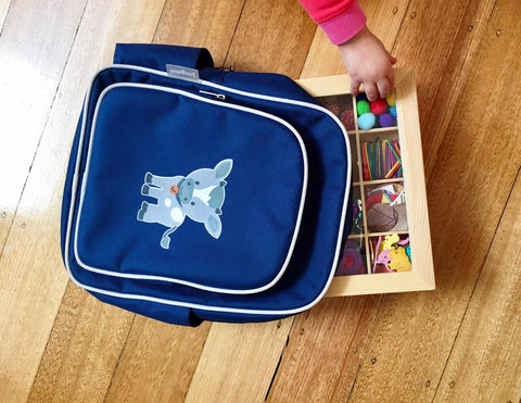Nesk kids craft box fits perfectly into Jordbarn's Indigo backpack