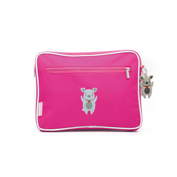 Pencil case | ipad case - pig - magenta - Jordbarn