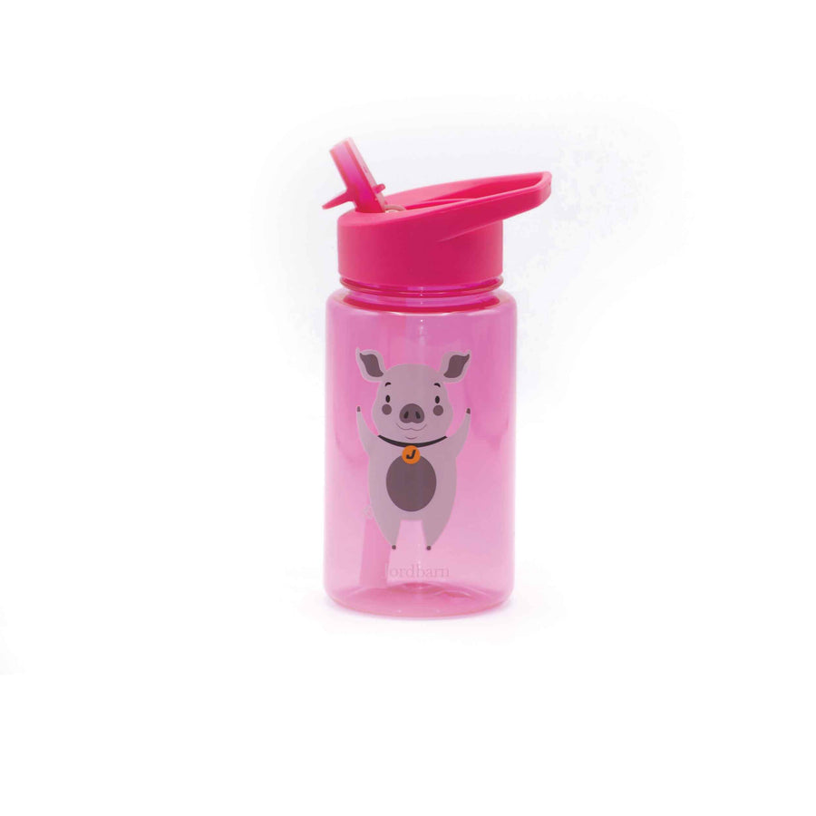 Water bottle - pig - magenta - Jordbarn