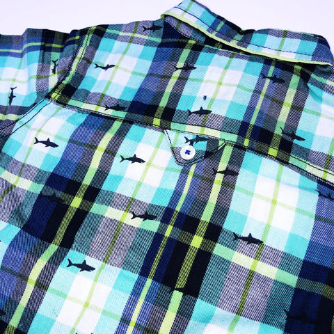 Plaid Shark Button Up Shirt (2492721889362)