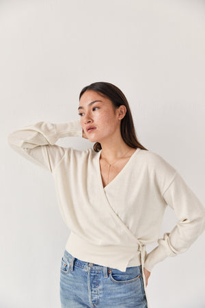 The Wool Wrap Top Ecru