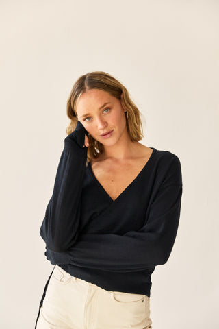 The Wool Wrap Top Black