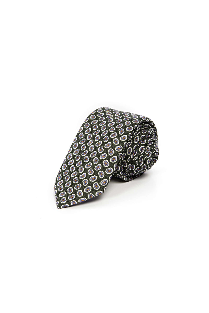 Romano Botta Green Flowered Wool Tie