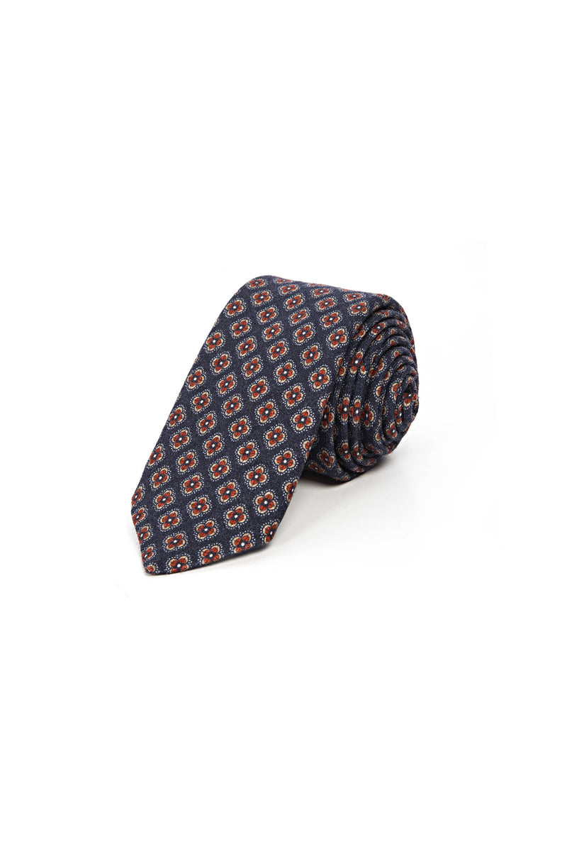 Romano Botta Navy-Brick Red Wool Tie