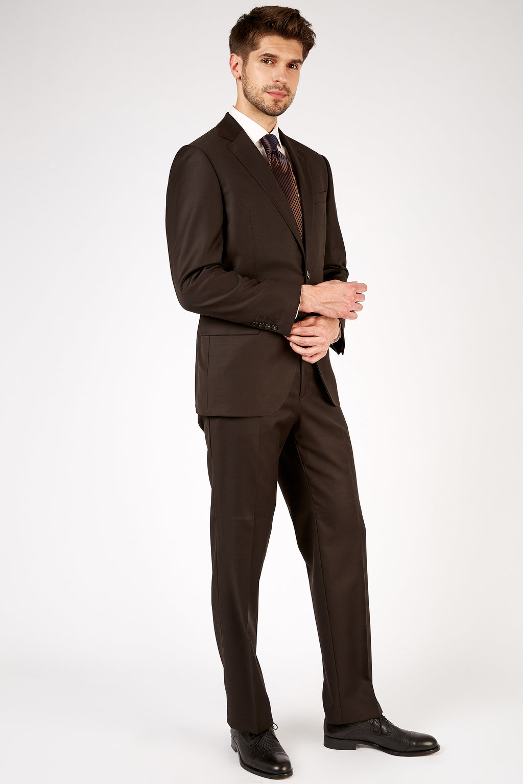 Romano Botta Classic Fit Two-Button Plain Brown Italian Suit