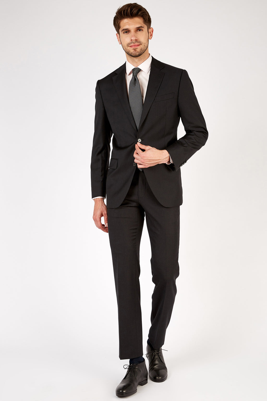 Romano Botta Classic Fit Two-Button Plain Coal Black Italian Suit