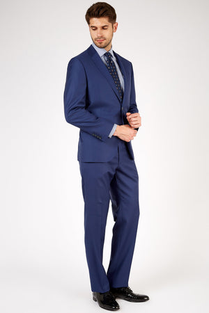 Romano Botta Semi-Slim Fit Two-Button Plain Dress Blue Italian Suit