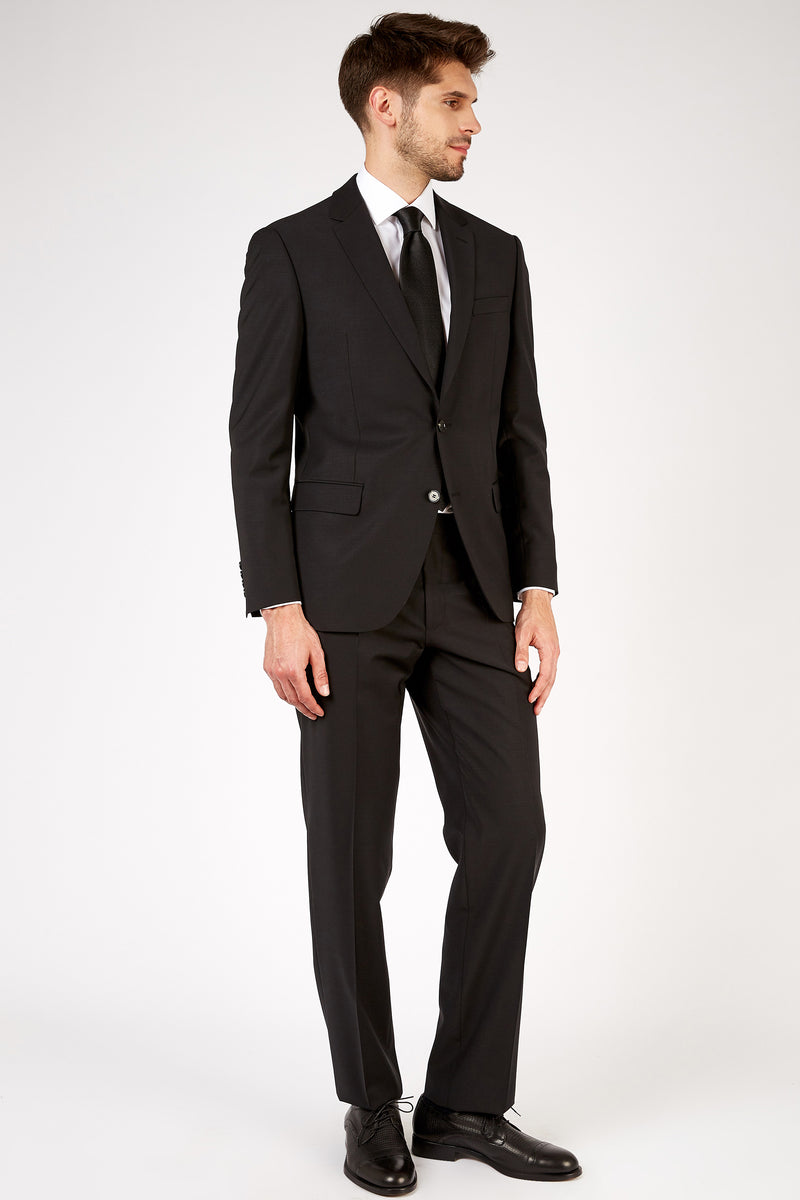 Romano Botta Semi-Slim Fit Two-Button Plain Black Italian Suit