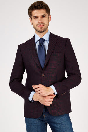 Romano Botta Navy Bordeaux Mini Dotted Slim Fit Jacket