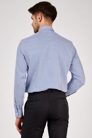 Romano Botta Blue Striped Cotton Shirt