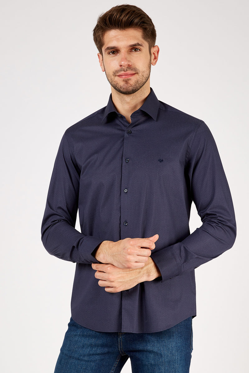 Romano Botta Navy Mini Patterned Cotton Shirt