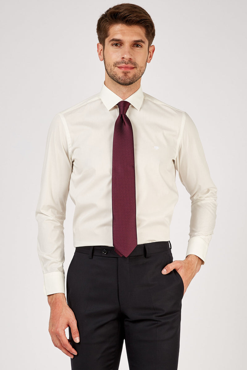Romano Botta Plain Milky White Cotton Dress Shirt