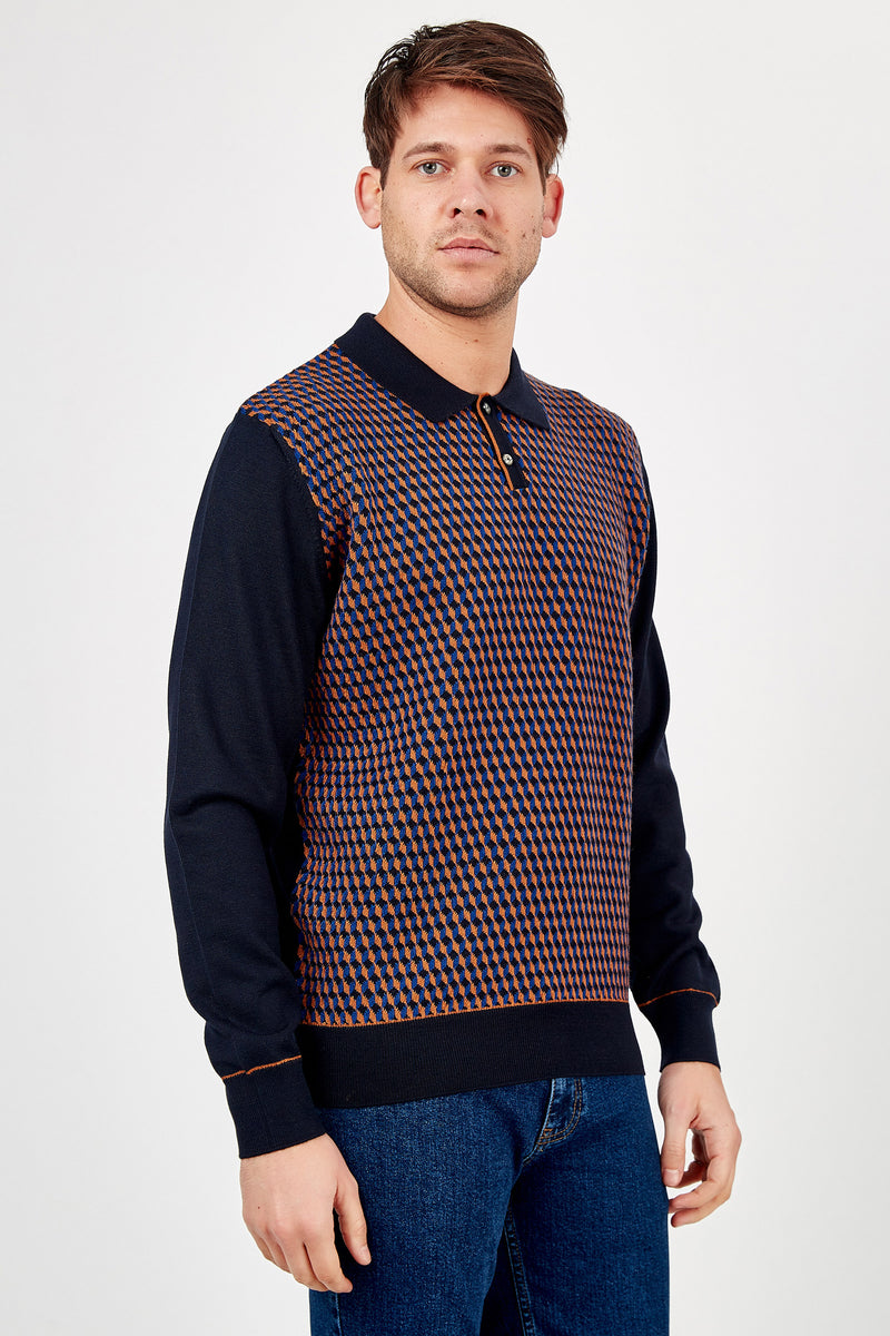 Romano Botta Navy Multicolor Patterned Polo Sweater