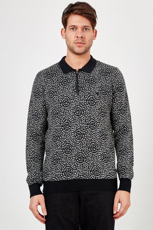 Romano Botta Black Multicolor Half-Zip Patterned Polo Sweater