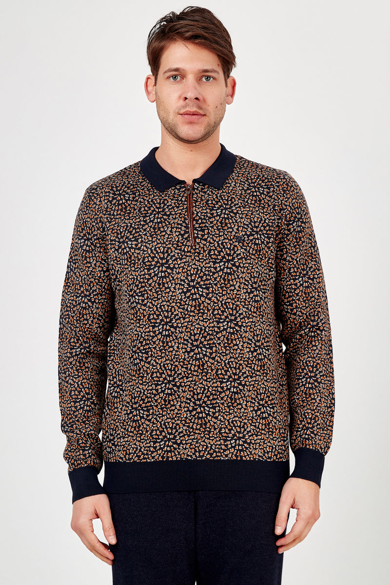 Romano Botta Navy Multicolor Half-Zip Patterned Polo Sweater