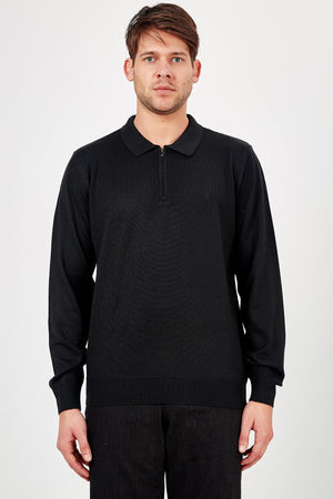 Romano Botta Navy Half-Zip Back Detailed Polo Sweater