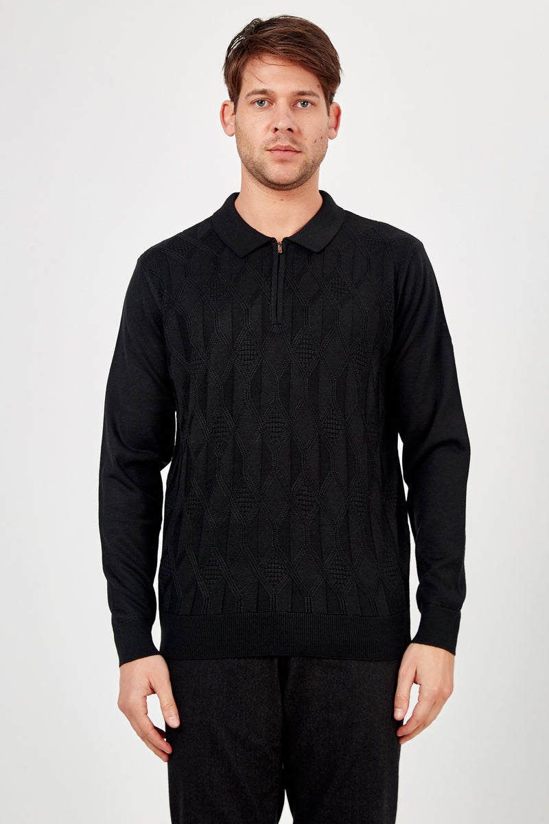 Romano Botta Black Half-Zip Polo Sweater