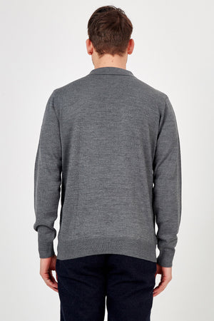 Romano Botta Dark Grey Half-Zip Polo Sweater