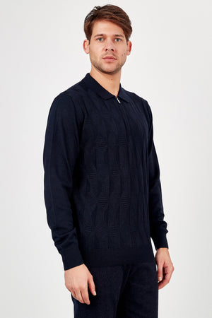 Romano Botta Navy Half-Zip Polo Sweater