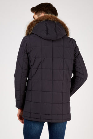 Romano Botta Navy Heavy Detachable Fox-Fur Hooded Coat