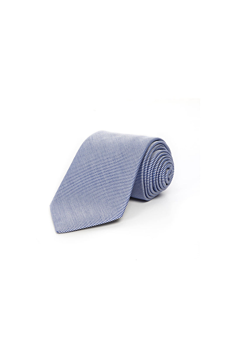 Romano Botta Light Blue-White Striped Patterned Silk Tie