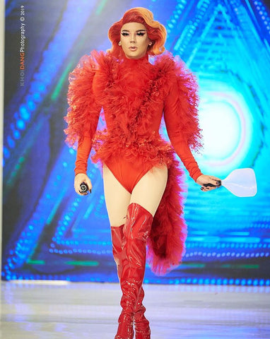 Red Ruffle Couture Fashion Drag Queen