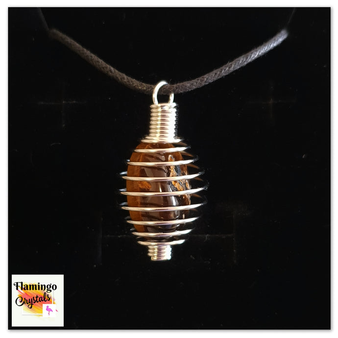 SPIRAL CAGE CRYSTAL NECKLACE - TIGERS EYE