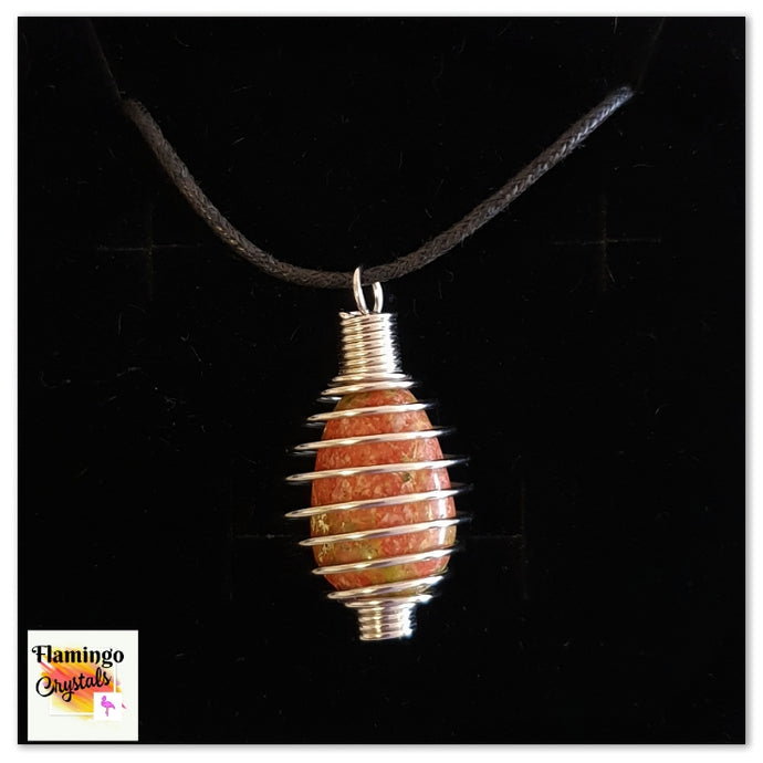 SPIRAL CAGE CRYSTAL NECKLACE - UNAKITE