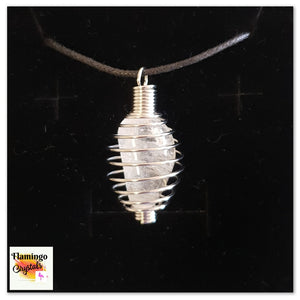 SPIRAL CAGE CRYSTAL NECKLACE - CLEAR QUARTZ