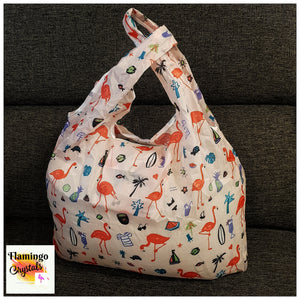 REUSABLE FOLDABLE FLAMINGO SHOPPING BAG