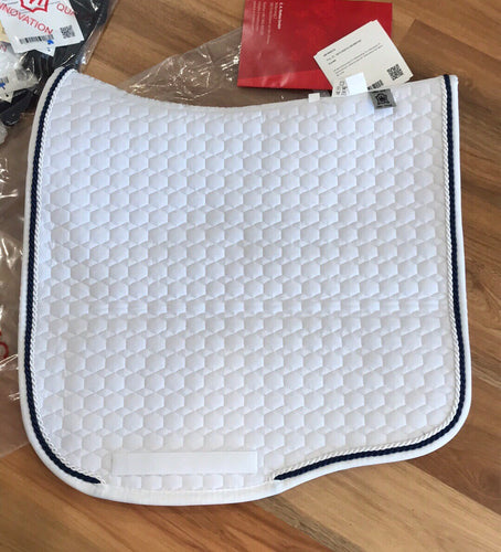 Mattes Eurofit Dressage Competition Pad MEDIUM White with Black/Navy