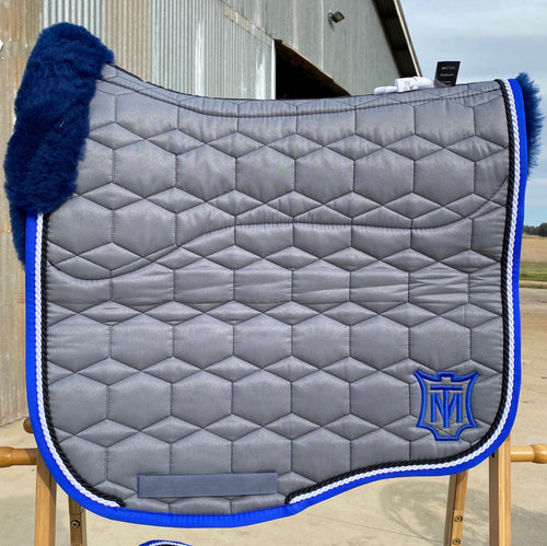 Mattes Eurofit Dressage Large Grey Sheen with Royal Blue