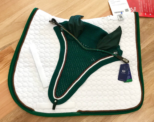 Mattes All Purpose Classic Cut Saddle Pad Size Medium White/Green/Brown