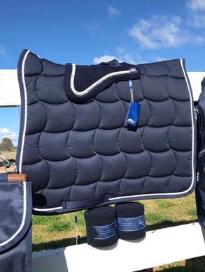 Anna Scarpati Custom Quarzo Full Dressage Pad Navy White