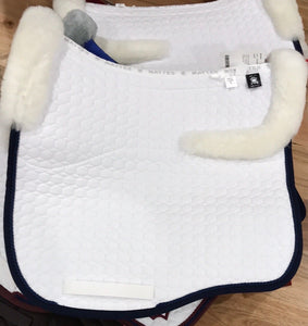 Mattes Eurofit Dressage Pad Large - Full fleece- White with Navy