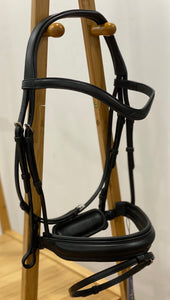 Dy'on Dressage Medium Crank Flash Bridle- Flat Leather Brown or Black