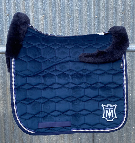 Mattes Square Navy Velvet Dressage Pad, fleece under seat, and top, size L