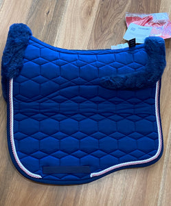 Mattes Eurofit Dressage Large Blue with Rose Gold and Blue Piping