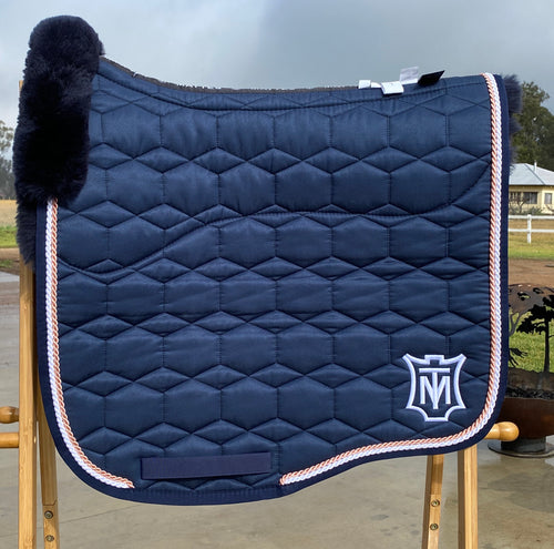 Mattes Dressage Eurofit Pad Large Navy with Fleece under seat