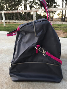Anna Scarpati Custom OXER Boot/Accessory Bag Grey/Fuschia IN STOCK