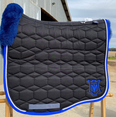 Mattes Eurofit Dressage Pad Large Black Sheen with royal blue