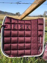 Eskadron Platinum Blackberry Glossy Big Square Dressage Pad and Bandages