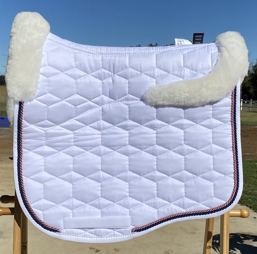 Mattes Eurofit Dressage Pad Large White Sheen/Full fleece- Choose detail