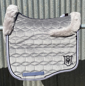 Mattes Eurofit Dressage pad Slate Velvet Large with Full Fleece